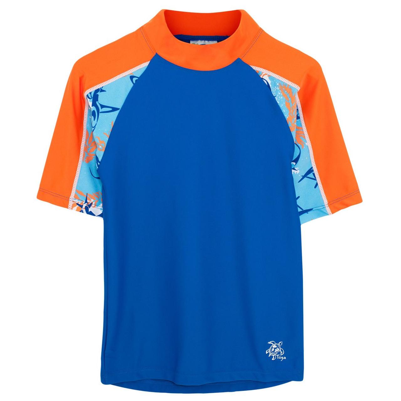 3faf2dffab887 Boys Tuga Short Sleeve Swim Shirt 'Breaker' Fuego | Boys UV Clothing