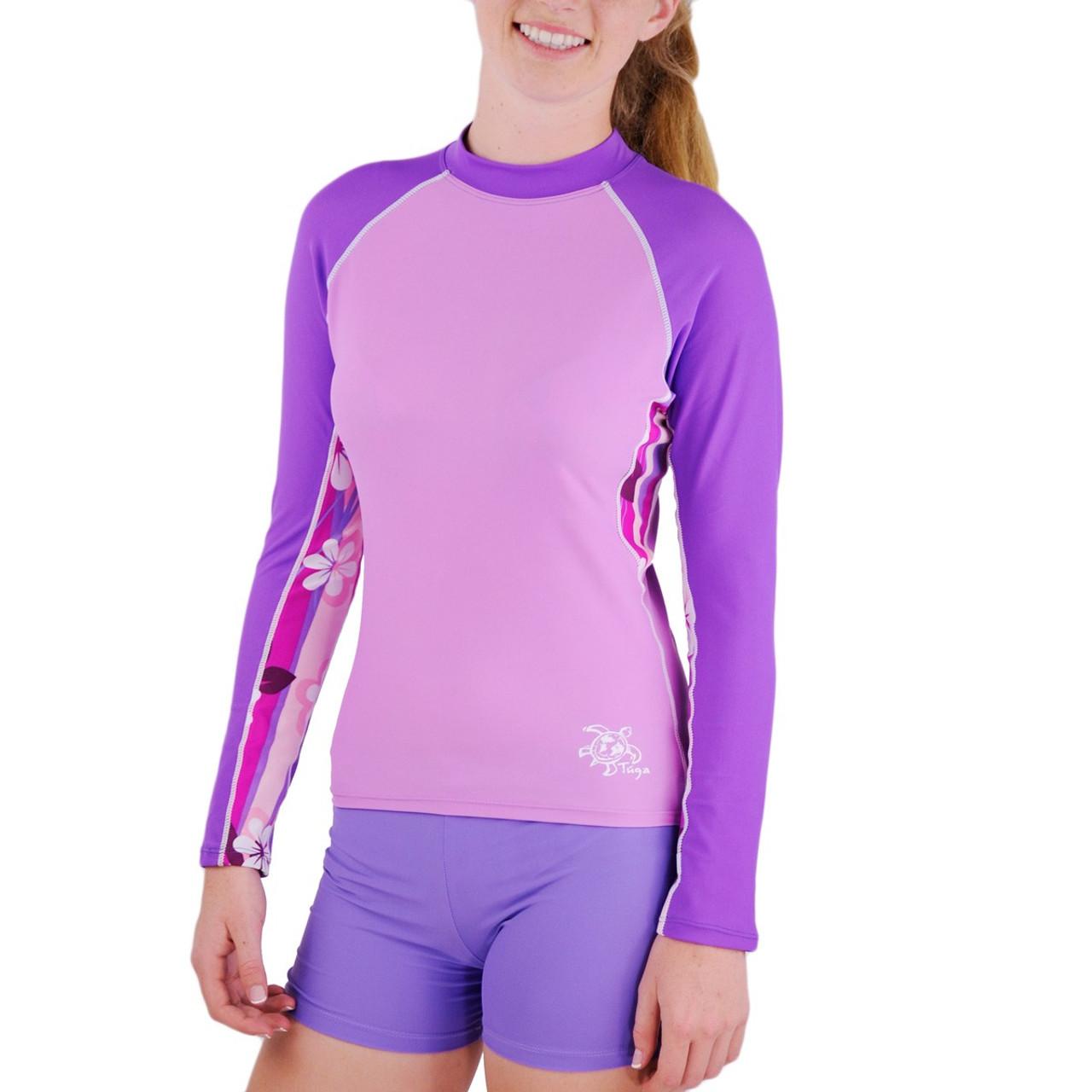 352926fa33 Womens Tuga Long Sleeve UV Swim Shirt Plumeria Purple | Women's UV ...
