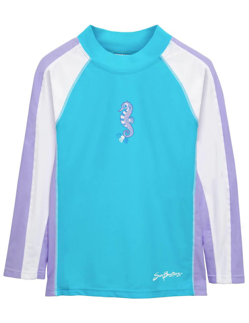 eea05fed32fb3 Girls Sun Busters L/S Rashguard Swim Shirt Maui Blue | Boys UV Clothing