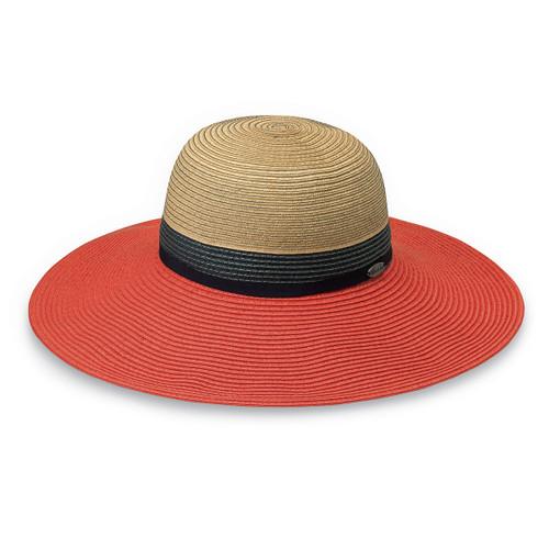 Women's Wallaroo St Tropez UPF50+ hat orange combo