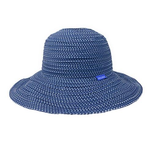 Womens Wallaroo Scrunchie UPF50+ sun hat slate white dots