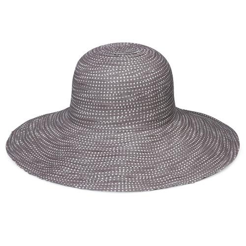Womens Wallaroo Scrunchie UPF50+ sun hat grey/white dots