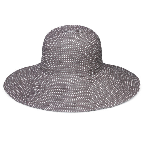 Womens Wallaroo Scrunchie UPF50+ sun hat grey/white dots