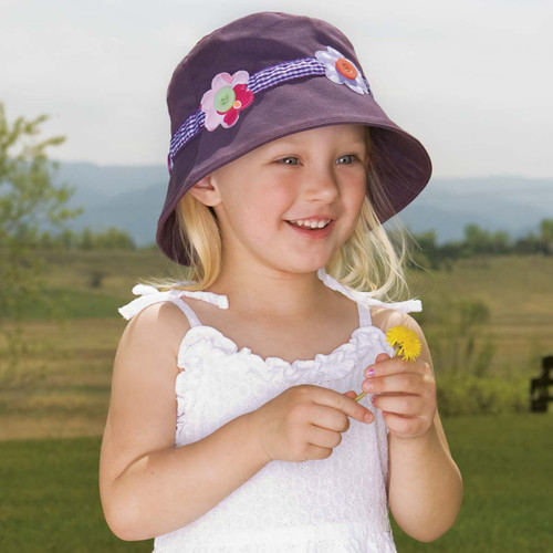 Girls Wallaroo UPF50+ daisy bucket hat