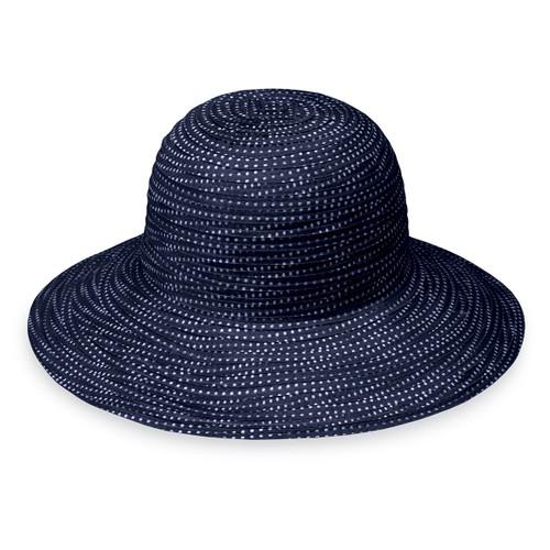 Girls Wallaroo petite scrunchie UPF50+ sun hat navy with white dots