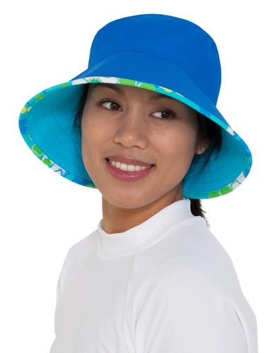 Womens UV reversible bucket hat - daisy blue