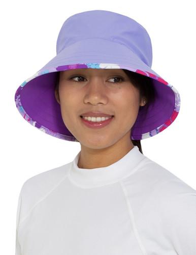 Womens Tuga UV beach bucket hat reversible daisy purple