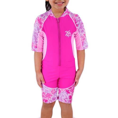 Baby girls UV all in one swim suit ruby