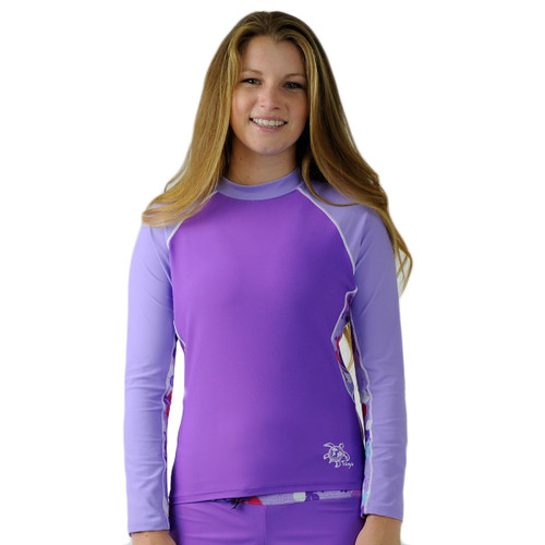 Womens Tuga UV swim shirt long sleeve rashguard daisy purple
