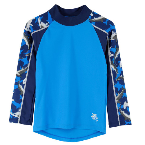 Boys long sleeve tube rash vest swim short surf blue