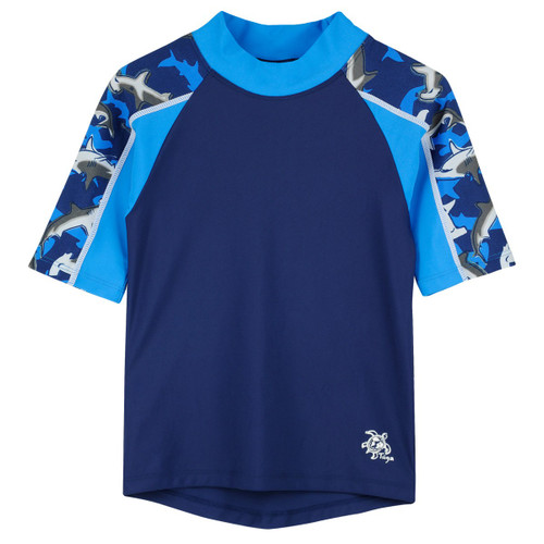 Biys Tuga short sleeve swim shirt surf blue rashvest