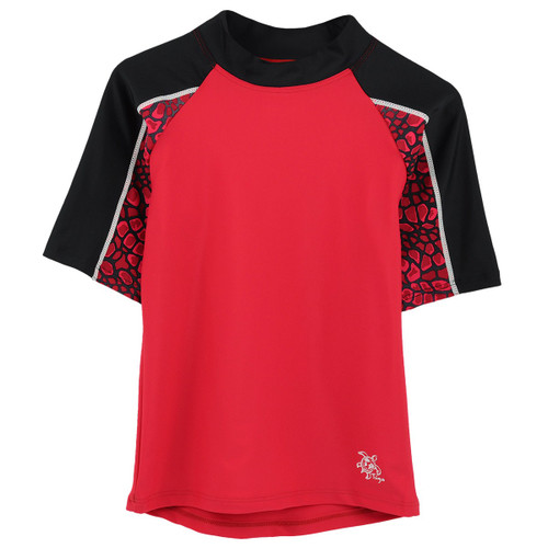 Tuga short sleeve UV Swim shirt rash guard red