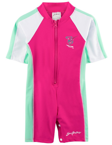 GIrls Sun Busters short sleeve UV Swim shirt poppy