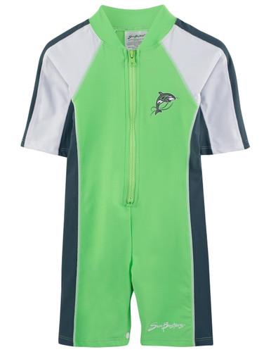 Boys short sleeve uv 1-piece swimsuit mantis