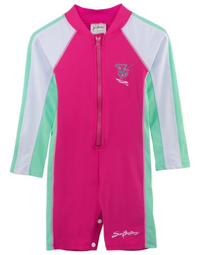 Girls Sun Busters UV long sleeve 1-piece swim suit poppy