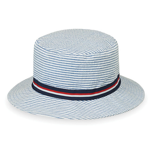 wallaroo boys blue stripes sawyer hat upf50
