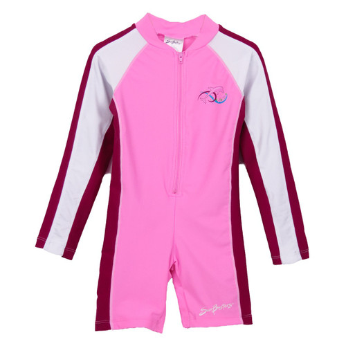 Girls Sun Busters long sleeve swim suit raspberry cranberry