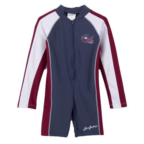 Boys Sun Busters long sleeve UV swim suit smoke-lava