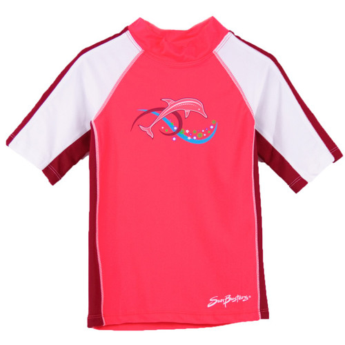 Girls Sun Busters UV Swim shirt rash-guard peach_nectarine