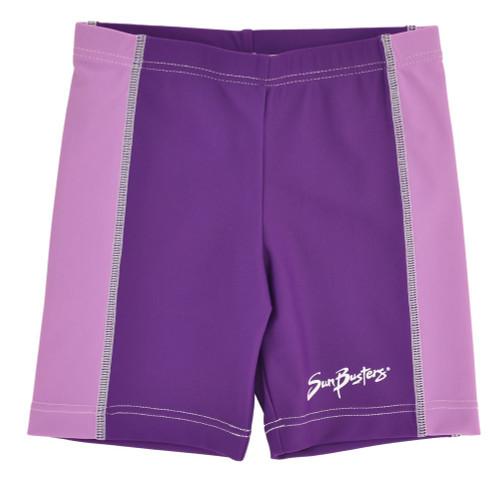 Girls UV rash swim shorts grape_indigo
