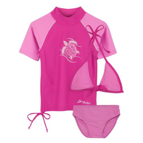 Girls Sun Busters 3-piece ruched swimwear set strawberry/Raspberry