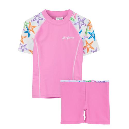 Girls Sun Busters UV Swim fitted rash set pink seastarberry