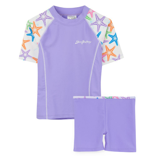 Girls Sun Busters UV Swim fitted rash set purple seastarberry
