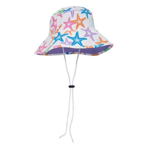 Girls reversible Sun Busters UV bucket hat purple sea starberry