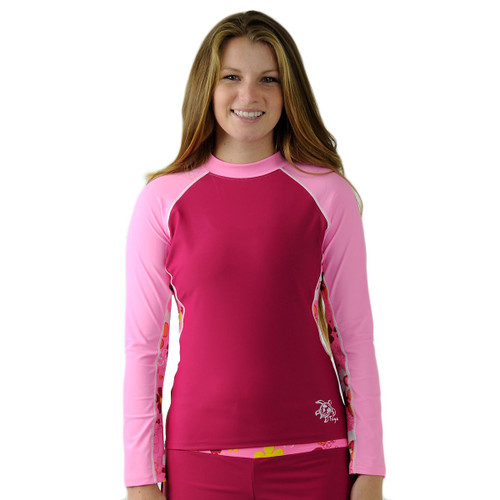Womens Tuga long sleeve UV swim shirt daisy pink