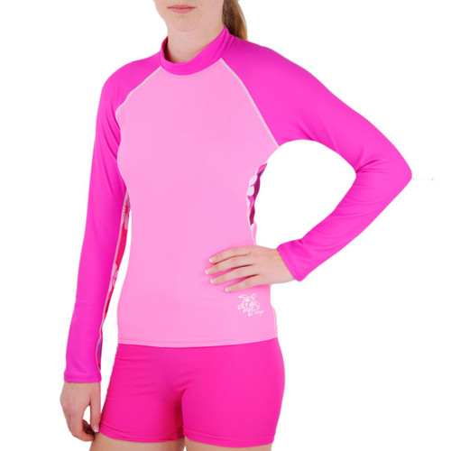 Tuga womens long sleeve UV swim short plumeria pink