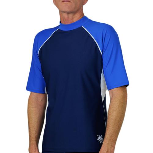 Tuga Mens short sleeve UV Swim short blue/white