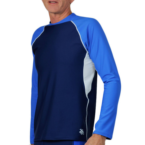 Tuga Mens long sleeve UV Swim short blue/white