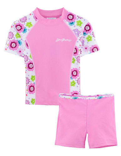 Girls Sun Busters UV Swim fitted rash set poppyberry