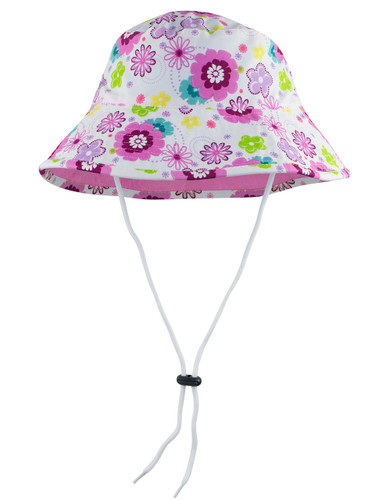 Sun busters Girls UV reversible bucket hat poppyberry
