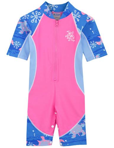 Sun busters girls uv low tide sun suit pink wave