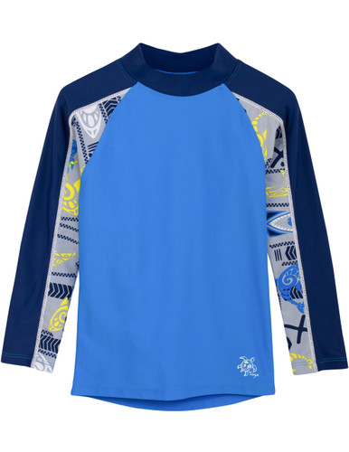 Boys tugs tube long sleeve rash guard fanatic blue