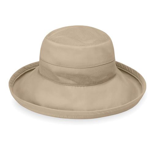 Womens Wallaroo UPF50 microfibre seaside hat camel
