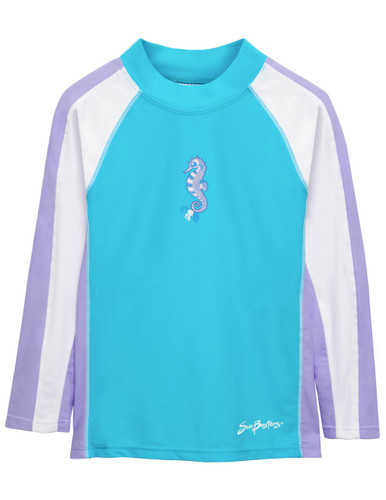 Boys Sun Busters Long sleeve UV Swim short rash vest maui blue