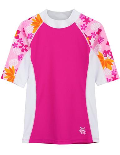 Girls Tuga UV seaside short sleeve swim shirt rash vest taffy