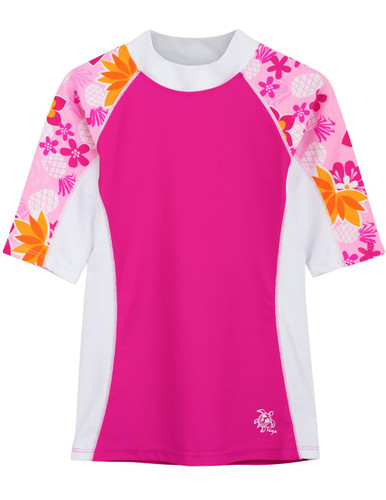 Girls Tuga UV seaside short sleeve swim shirt rash vest taffy
