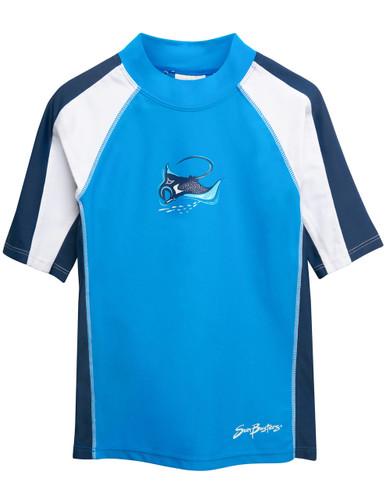Boys Sun Busters short sleeve UV swim shirt dusk blue front