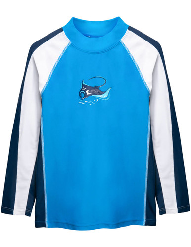 Boys Sun Busters long sleeve UV swim shirt dusk blue front
