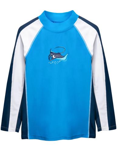 Boys Sun Busters long sleeve UV swim shirt dusk blue front