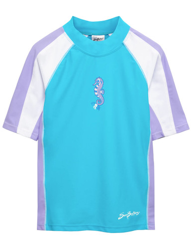 Girls sun busters short sleeve swim rash shirt upf50 front maui blue