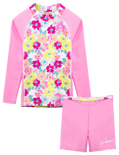 Girls Sun Busters UV Swim fitted rash set prettyberry pink