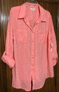 Style & Co. Button-Down Tie-Hem Cotton Top Peach Berry, XL