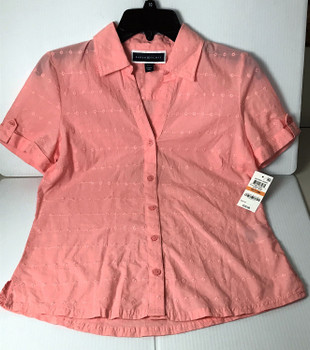 Karen Scott Womens Petite Petite Cotton Eyelet Shirt New!