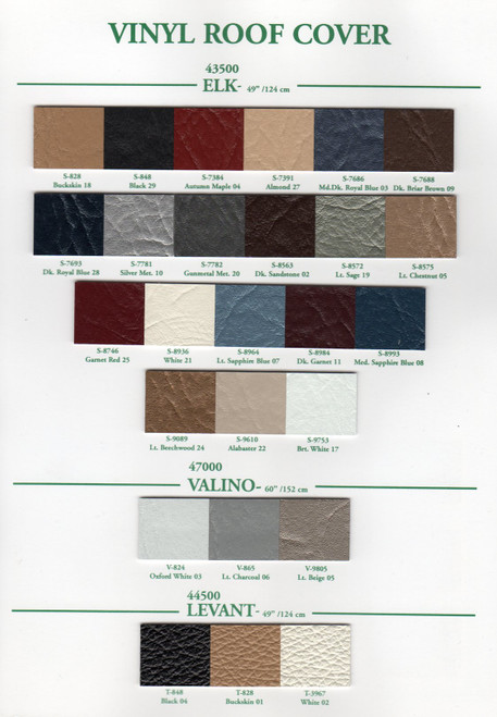 HAARTZ Vinyl Roof Cover Colors Standard Colors Addition Colors Available