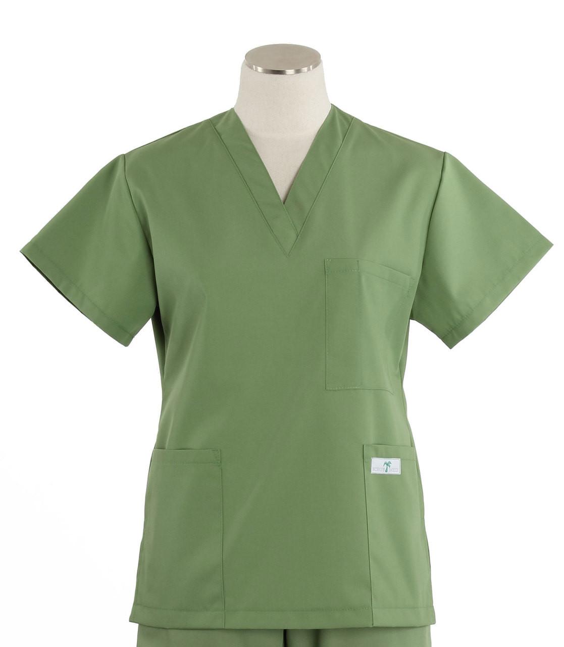 19707979f0a Scrub Med Womens Solid V-Poc Scrub Top Bay Leaf - Scrub Med