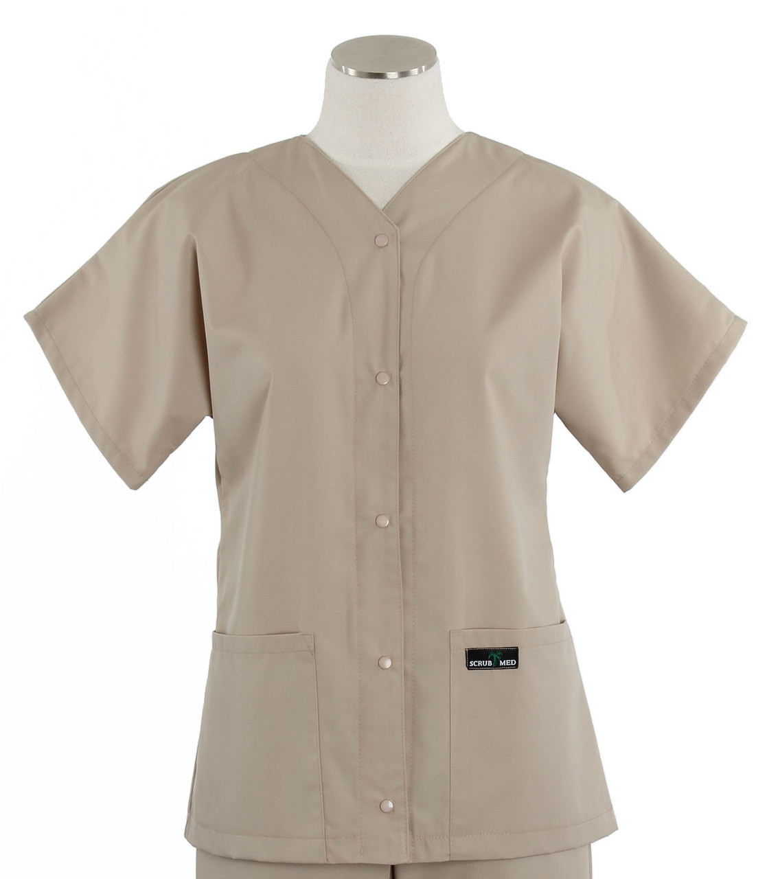 e95151bc65b Scrub Med Womens Solid Baseball Scrub Top Khaki - Scrub Med